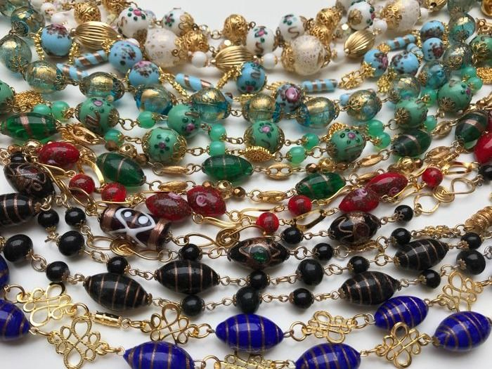 Lot of 10 vintage necklaces with murano glass beads - Venice/Murano, ca. 1940-1950