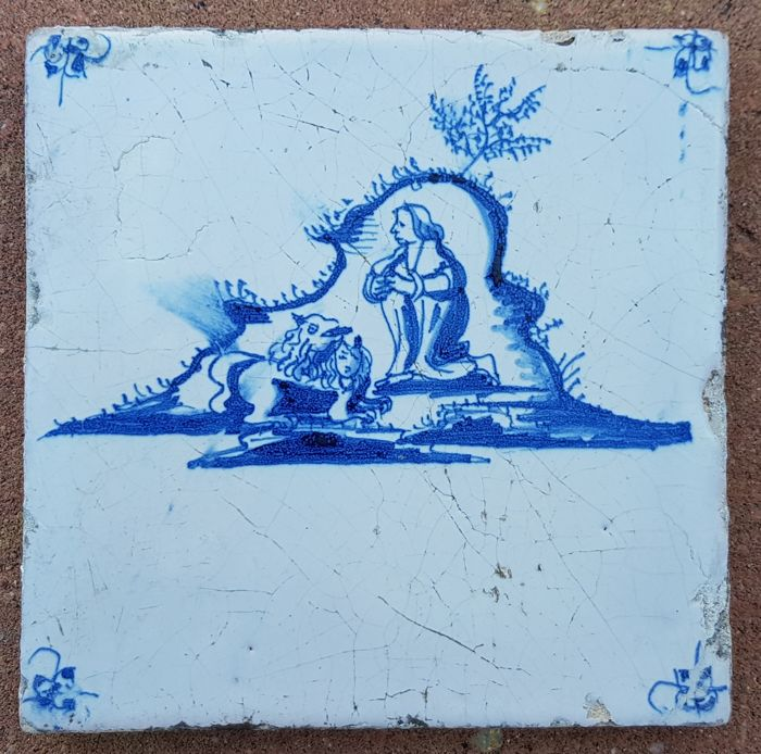 Tile with a special depiction 'in the lion's den'