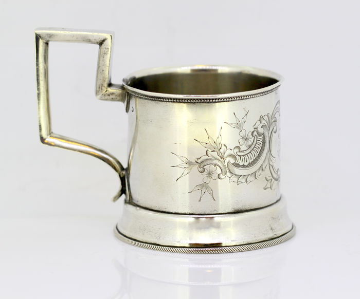 Antique Russian silver small cup with decorative engravings and initials, Russia Late 19th Century