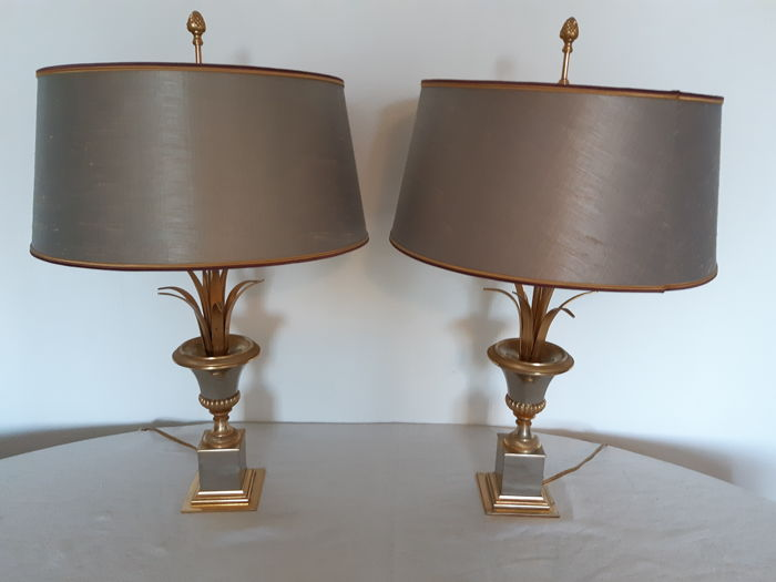 Maison Charles - pair of table lamps - pineapple leaf design original MC shade Royal gray with gold colour inside 1960's - France