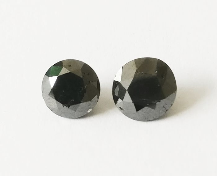 Couple of 2 Round cut diamond total 3.18 ct Fancy Black *** No Reserve ***