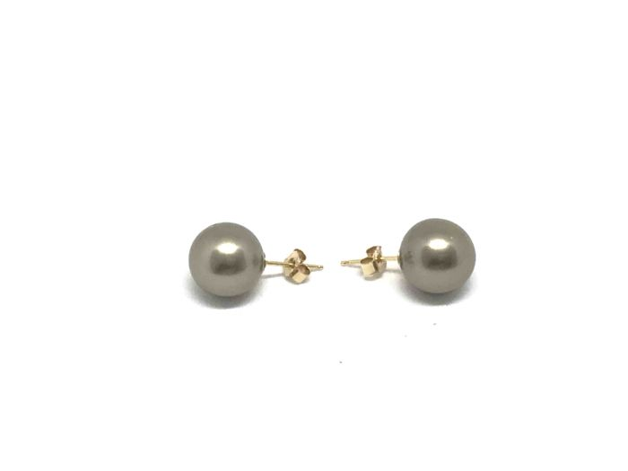 Pair of 18 kt gold ear studs with 2 perfectly round light grey Tahitian pearls (11 mm)