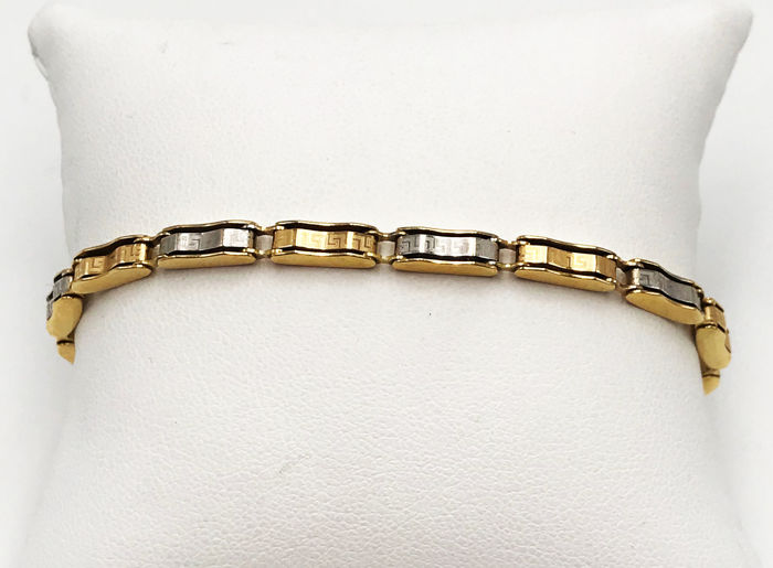 18K Yellow- and White-Gold Bracelet - Brand: RAIKA - Soft Chain Link Model - Length: 21cm