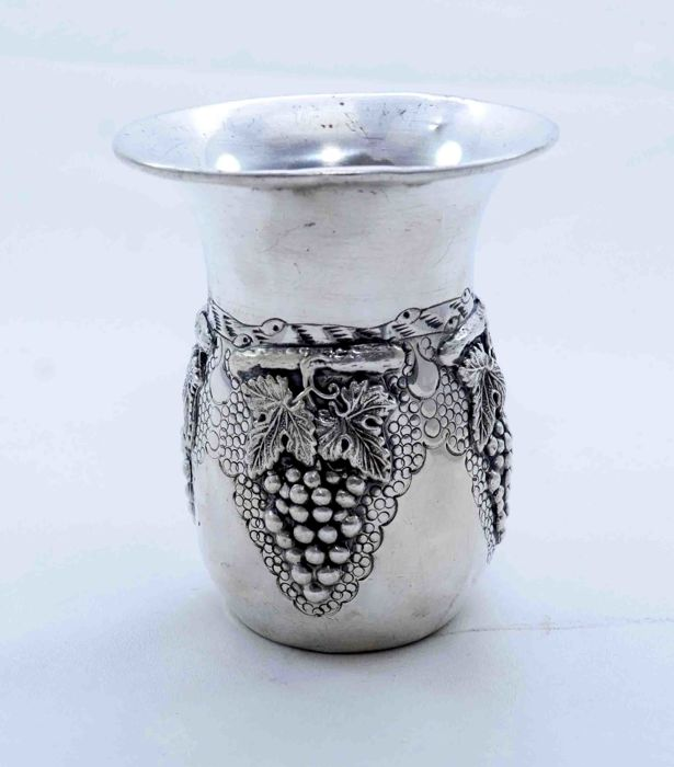 A silver Kiddush cup - 925 sterling silver - vine leaves and grape clusters - Israel - ca. 1940's