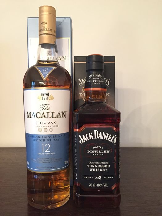 2 bottles - The Macallan fine Oak 12 years old & Jack Daniel's Master Distiller Series