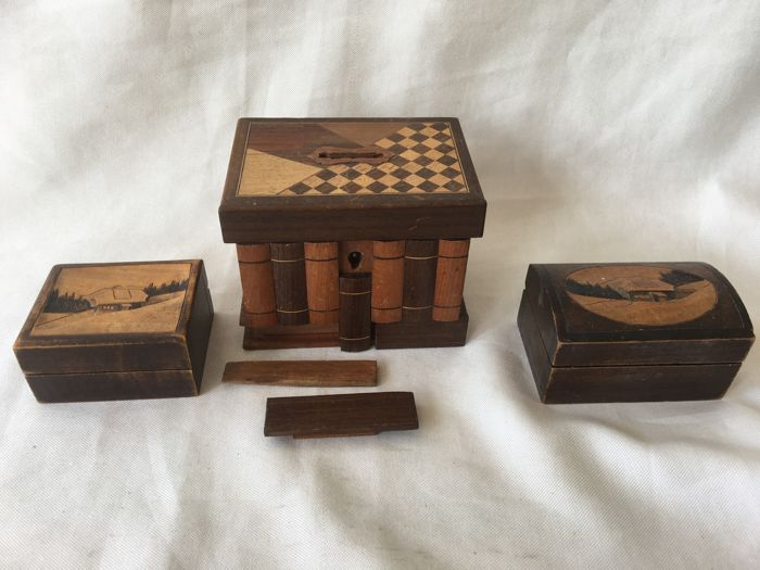Three Wooden Handmade Boxes A Piggy Bank With Secret Compartment Plus Two Landscape In Relief