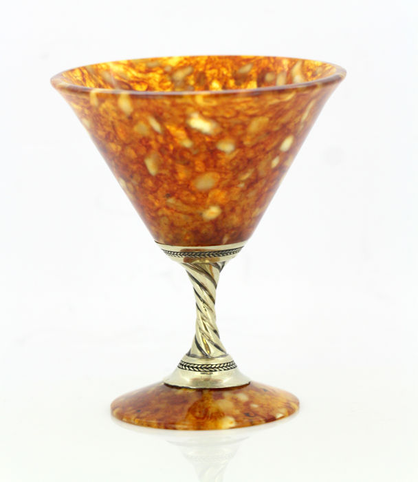 Vintage Russian silver and amber small goblet, Circa.1990's