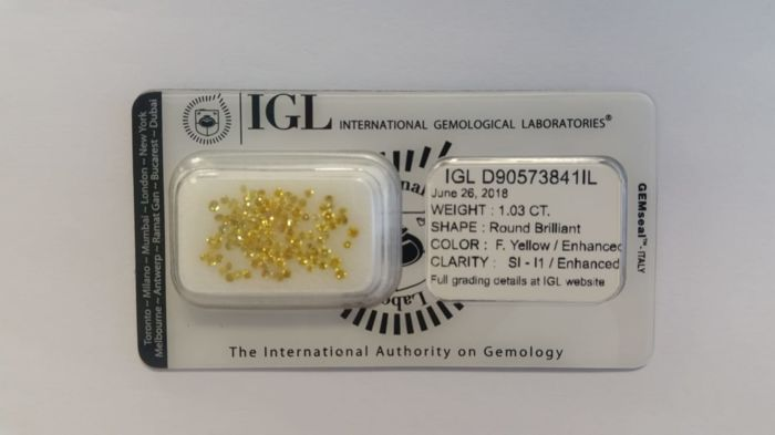 1.03 ct  Natural Diamonds  Round  F. Yellow/Enhanced  SI-I1/Enhanced  IGL -No Reserve