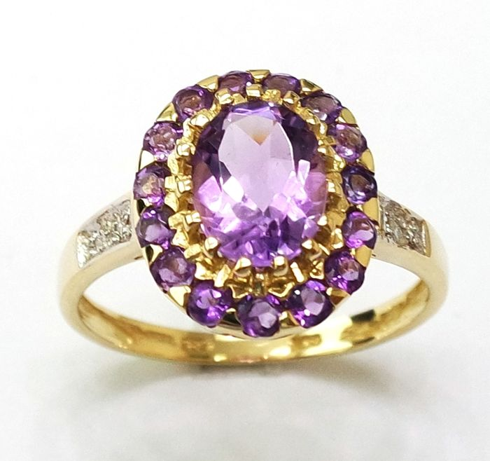 14CT Yellow Gold Amethyst & Diamonds Ring -  Size:  O