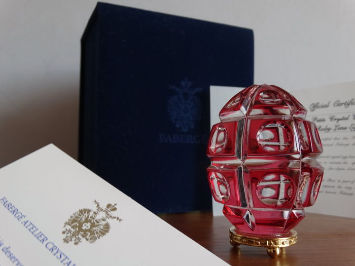 Faberge Crystal - Imperial Egg Collection- ruby- - numbered - signed - engraved crystal  24k gold finished - Certificate of Authenticity