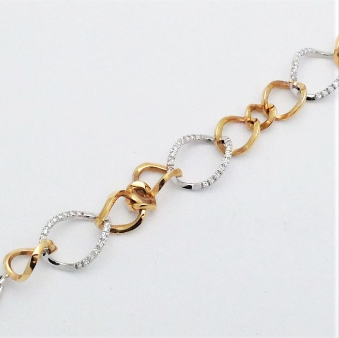 Bracelet with links in 18 kt white gold and rose gold - Diamonds - New condition - 100% handmade in Italy