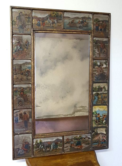 Mirror framed with glass tiles hand painted in pure gold - with country life scenes - 1960s - Peruvian