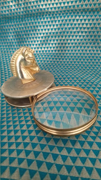 Very nice old gilded bronze magnifier with horse head