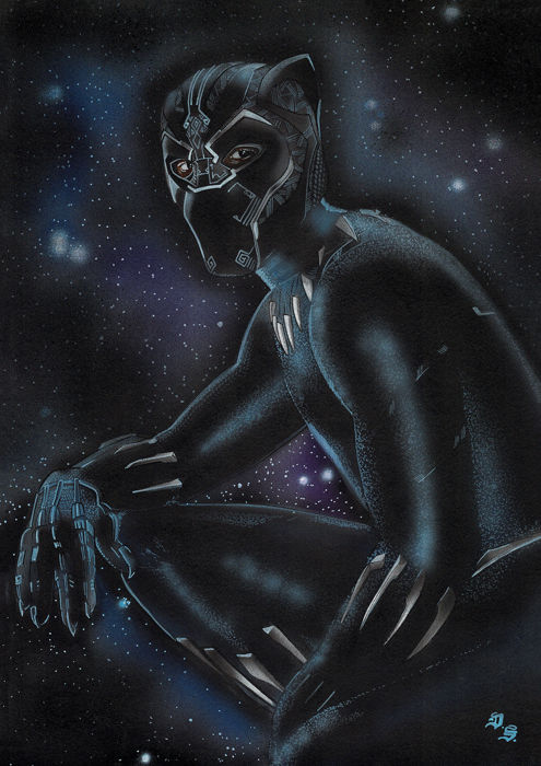 The Black Panther - Avengers: Infinity Wars - Original Drawing - Diego Septiembre - 42 x 30 cm - First edition