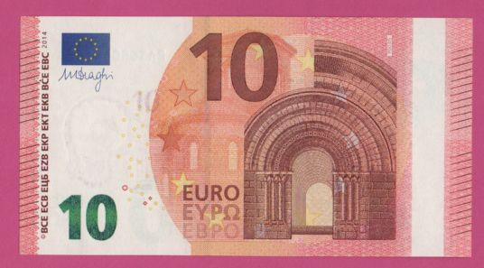 European Union - Netherlands - 10 Euro 2014 - PA - Draghi - White stripe on front, missing hologram.