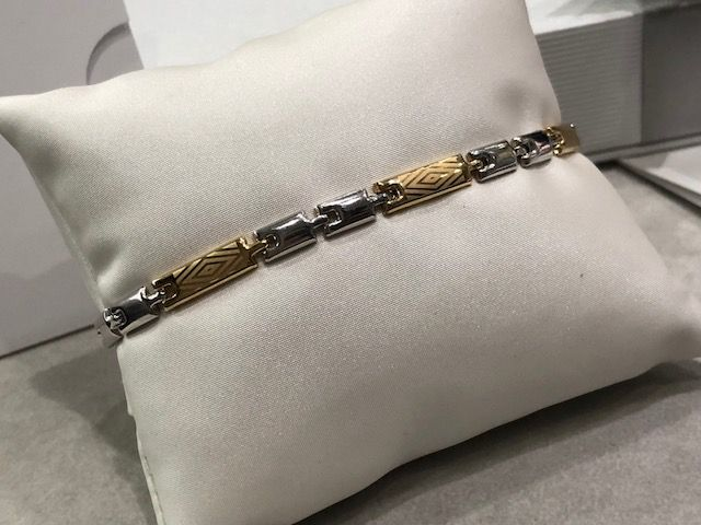 18 kt white and yellow gold bracelet - 20.5 cm