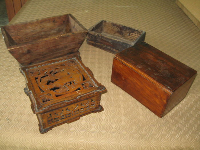 Two wooden jewellery/documents boxes, two open container boxes - 1st half and mid 20th century
