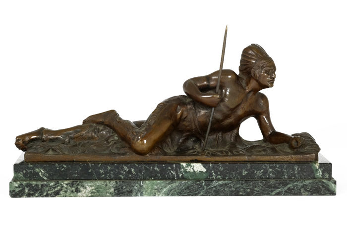 After Edouard Drouot (1859-1945) - bronze sculpture of an Indian with spear - France - first half 20th century