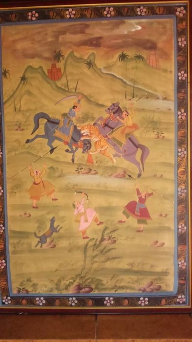 A tiger hunt with two horses and riders and three archers - 20th century