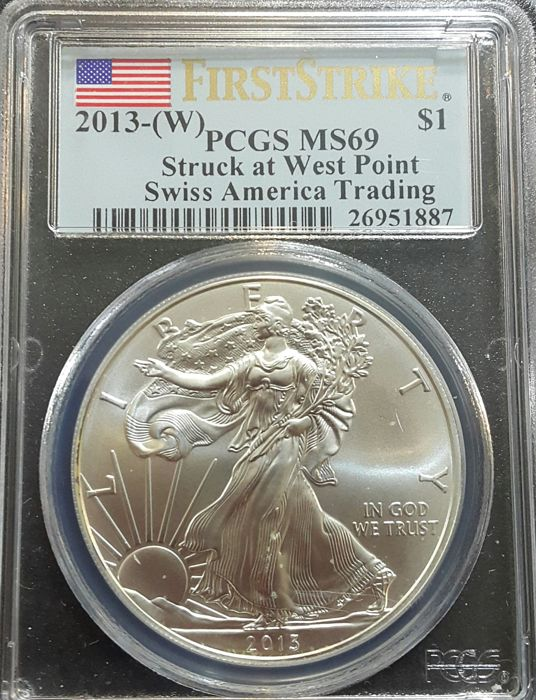 United States - 1 Dollar 2013 American Eagle - PCGS MS69 - 1 oz silver
