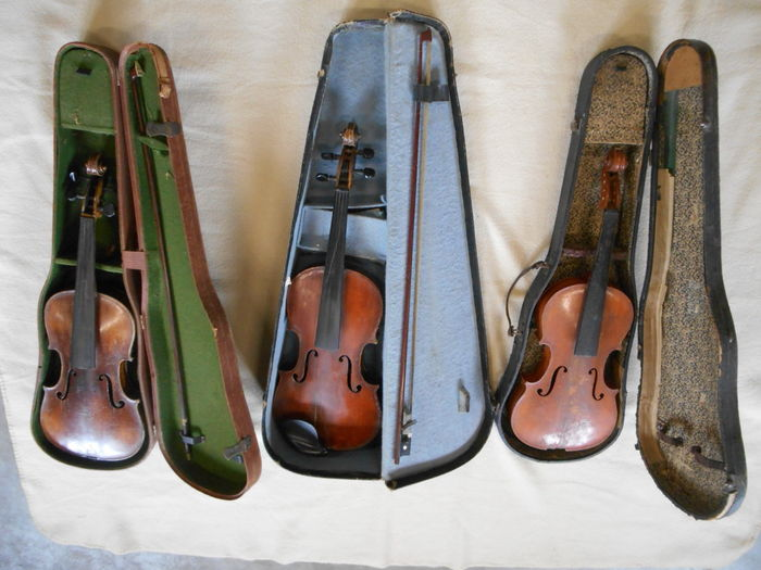 Three violins with bows and cases for restoration/decoration 19th century Italy