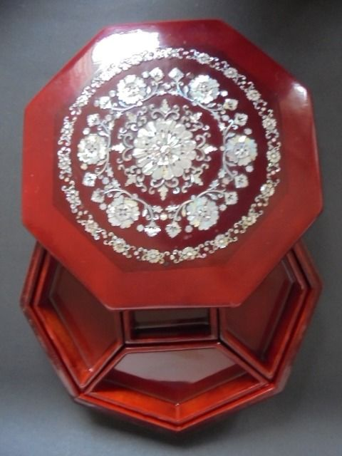 Vintage original wooden lacquer box with shell flower mosaic, mid 20th century