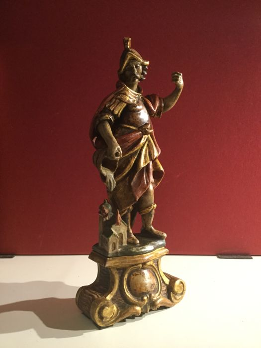 Polychrome and gilded wooden sculpture: S. Floriano - German area -  second half of the 19th century