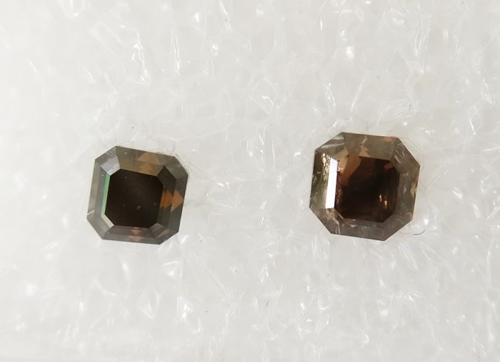 Couple of 2 Square Emerald cut total 0.74 ct Fancy Dark Orangy Brown I1 *** No Reserve ***