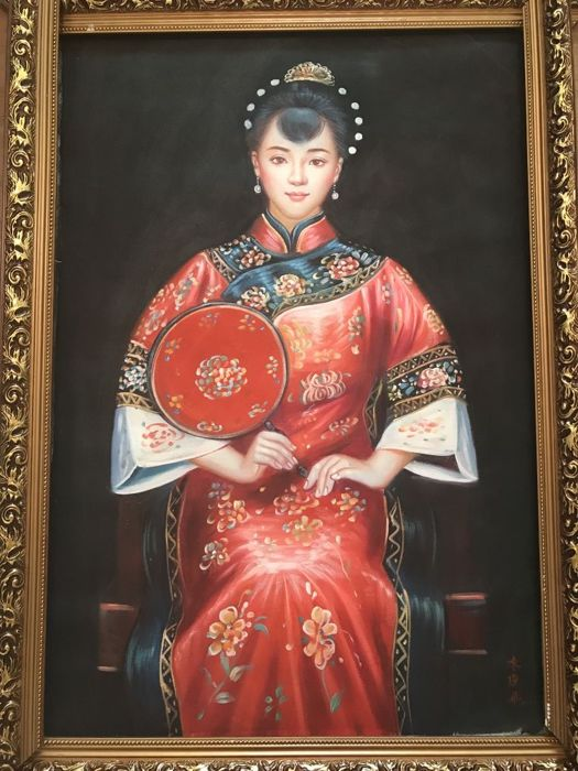 Oil painting, in style  of Chen Yi Fei  - China - late 20th