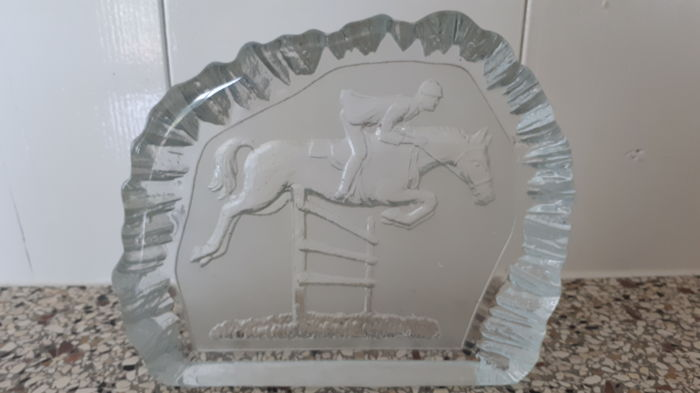 Glass paperweight ornament with an equestrian