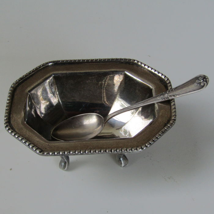 """Antique Sugar Bowl """"Sheffield Sweet England"""" and teaspoon in silver 800 - England, 20th century"""