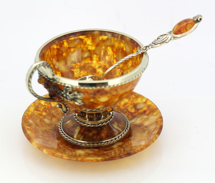 Vintage Russian silver and amber tea cup set, Russia Circa.1990's