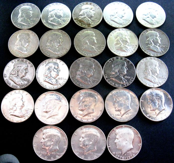United States -  ½ Dollar 1948/1976 (23 different coins) Franklin & Kennedy - Silver