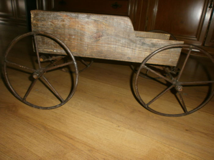 Infant toy carriage - 40s - iron and wood