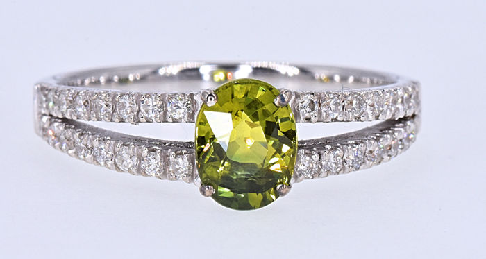 1.34 Ct Unheated Green Sapphire with Diamond ring NO RESERVE price!