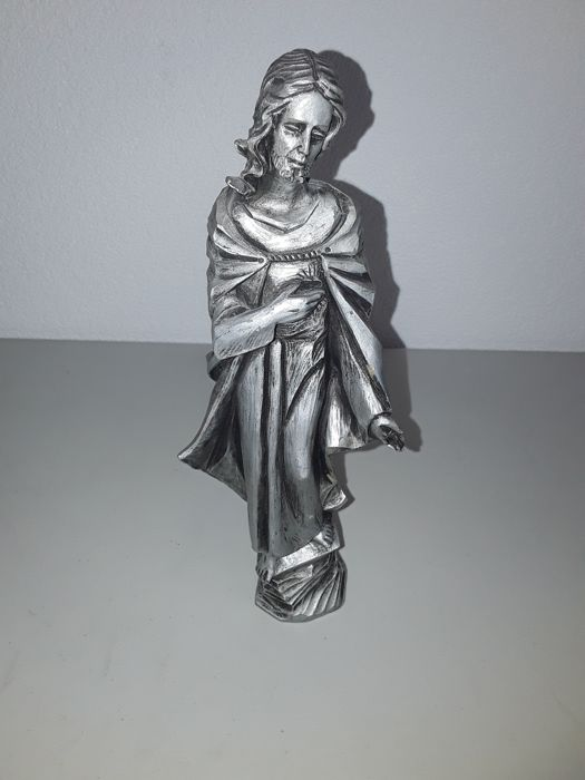 Antique sculpture , made by hand ,stamped ,  carving figurine, material is ceramic/stone and silver plated ,20th period!