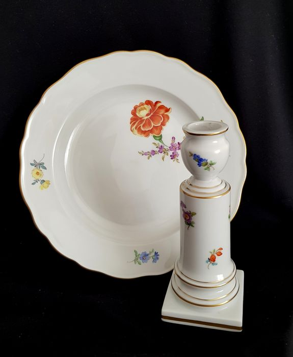 Meissen - Porcelain Candlestick and Plate