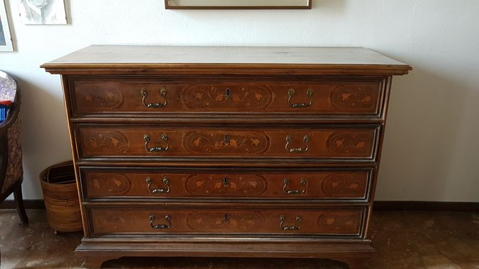 Antique Louis XIV fall-front dresser, in inlaid walnut wood with floral motifs Lombardy, early 1800s
