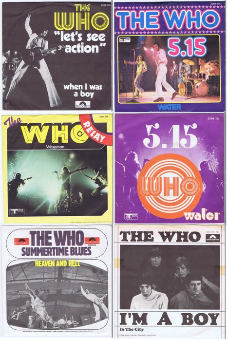 "THE WHO - lot of 6 original 7"" RPM 45s w/PS in beautiful condition."