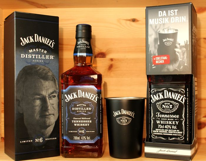 "2 bottles - Jack Daniel's: Master Distiller No 6 ""Jimmy Bedford' 700ml & Jack Daniel's No7 with Stainless steel mug, 70cl"