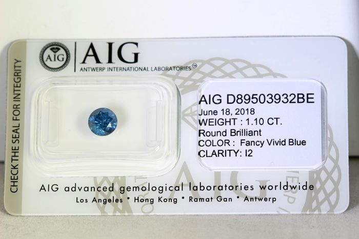 Fancy Vivid Blue Diamond - (Colour Treated) - 1.10 ct