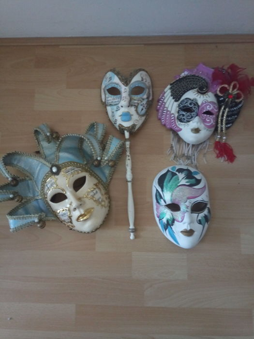 Lot of 1 original and 3 replica hand-painted Venetian mask