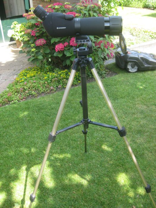 Telescoop: BRESSER Spotting Scope 20-60 x 60 with large tripod VELBON CX 300 and  small table tripod