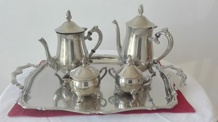 Vintage Tea Set in rolled silver 1000