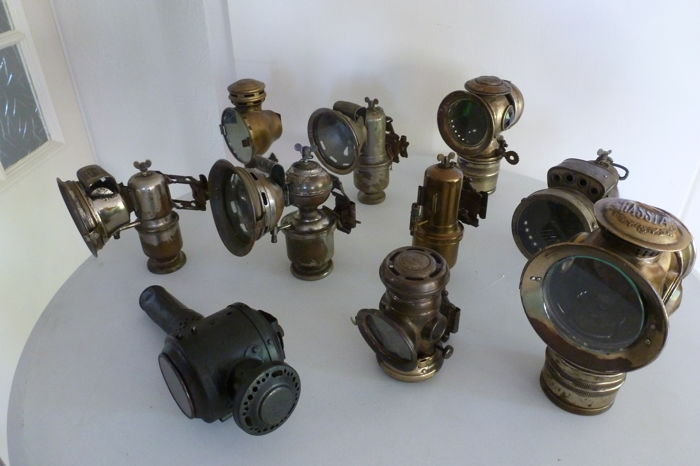 Ten (10) different carbide lamps