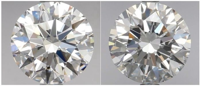 Exclusive Pair of Round Brilliant Diamonds DIF total 1.04 ct IGI -IDEAL CUT DIAMONDS - #18124-008