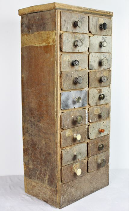 Original Handmade Cabinet Of Various Types Of Wood With Compartments