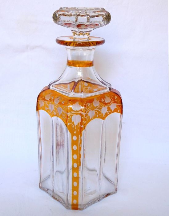 Liquor decanter in Baccarat orange overlay crystal, France, mid 19th period