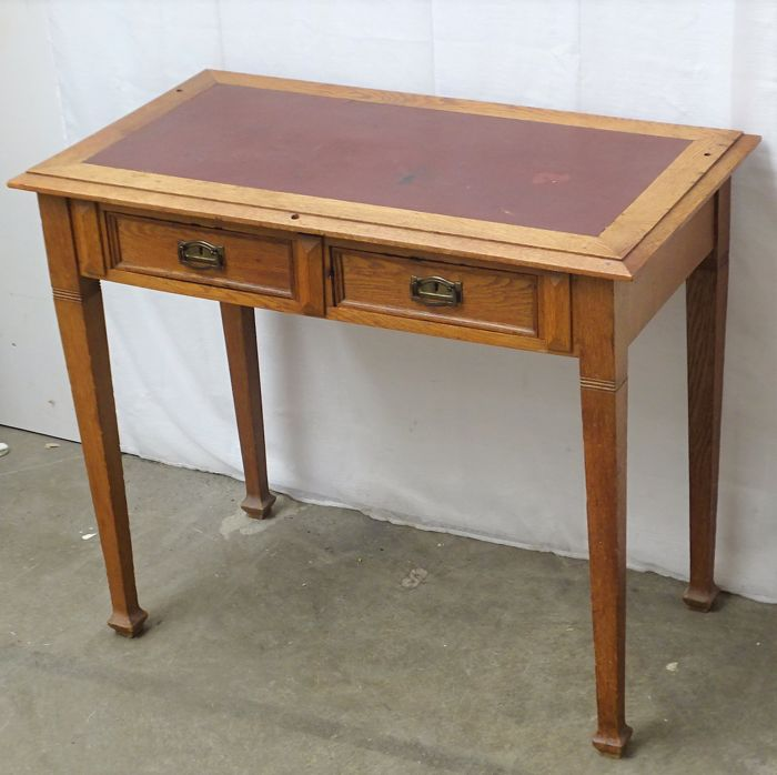 Small Oak Desk With Red Leather Inlay, Two Drawers And A Hidden Lock   Early
