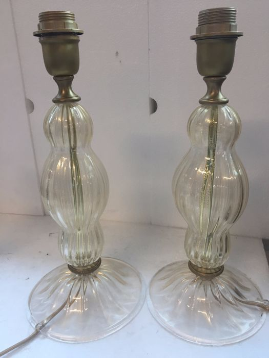 Unknown designer - Lot of 2 glass table lamps
